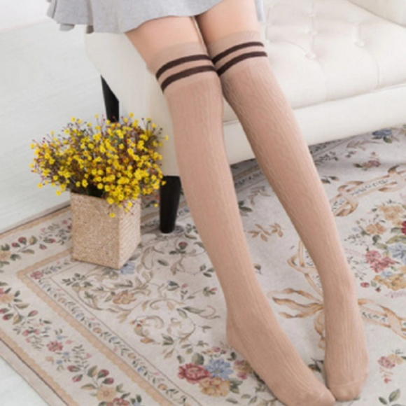 ❤️NEW Sexy Knit Over the Knee Stripe Stockings